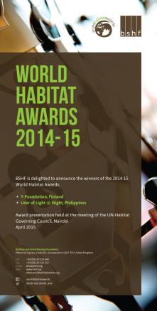 Premios Mundiales del Hábitat 2014-15: Ganadores y Finalistas